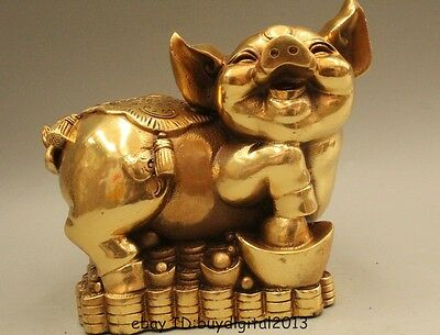 """5"""" Chinese Fengshui Brass Money Fu Wealth Zodiac Year Pig Chiropter Statue Sculp"""