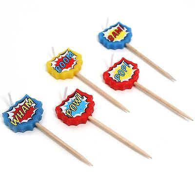 Ginger Ray Comic Book Superhero Birthday Candles 5 Pack Cake Decoration Topper