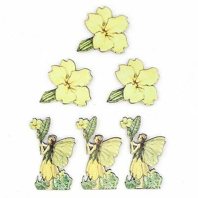Hobbycraft Fairy And Flowers Wooden Toppers 6 Pack Chipboards Cardmaking Craft