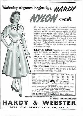 Vintage 1950's Advert - NYLON OVERALL BY HARDY AND WEBSTER - 294