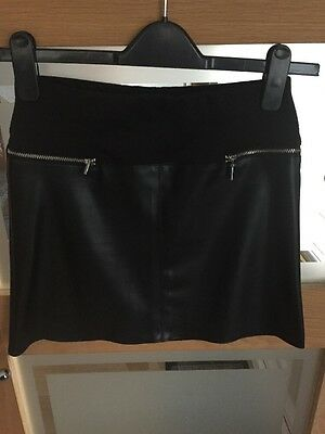 Girls River Island Black Faux Leather Skirt Age 11