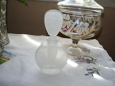 Scent Bottle Frosted Glass With Tulip Design. .
