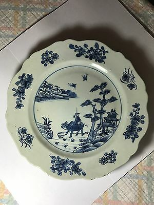 Antique 18th C Chinese Qianlong Blue & White Plate Cow By Water Stunning