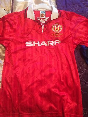 Manchester United Score Draw 1994 Retro Cup Final Shirt Large No.7