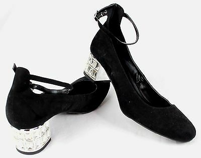 Womens New Look Black Suede Chunky Heel Shoes Diamonds Ankle Strap Size 4 UK