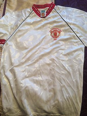 Manchester United Score Draw 1991 Retro Cup Winners Cup Final Shirt Large