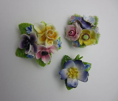 Vintage Lot Of 3 China Floral Brooches Made England Includes Thorley Some Damage