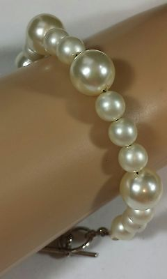 Jewelry Bracelet Chain Silver Tone Faux Pearl Beautiful Christmas Gift#1963
