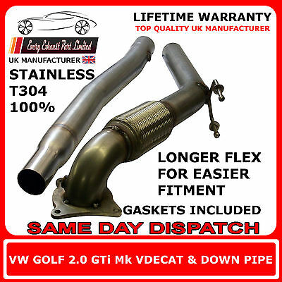 """VW Golf Mk5 Stainless Steel T304 Decat and Downpipe 3"""" Bore UK Made"""