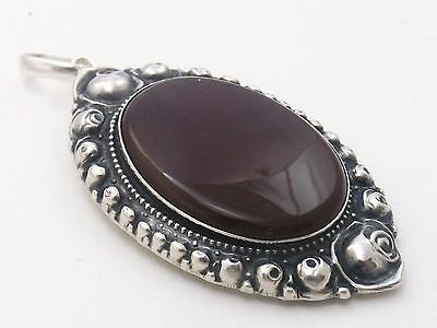 Large Oval Pendant with agate or similar stone 800 silver