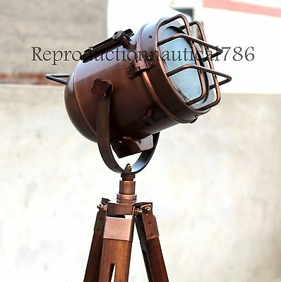 Handmade Copper Studio Floor Lamp With Stand Nautical Tripod Marine Searchlight