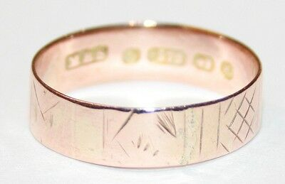 Antique 9ct Rose Gold Patterned Wedding Ring Circa 1900/1 Size N 1/2