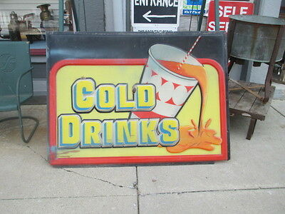 * LARGE * Vintage 1950s Thick Plastic Embossed  Sign Soda Cold Drinks !!