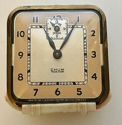 VTG The E Ingraham Company Alarm Clock Model O Bakelite Art Nouveau Deco