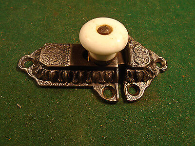 VINTAGE EASTLAKE CABINET LATCH w/ KEEPER & PORCELAIN KNOB   (5930-111)