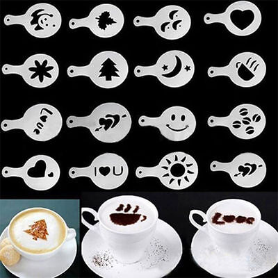 16 Piece Cake/coffee  Decorating Stencils - New -Uk Seller