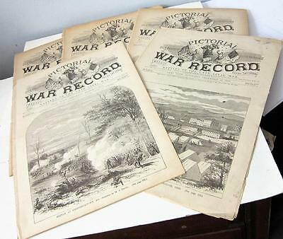 Lot of 5 1881-82-83 PICTORIAL WAR RECORD Battles of the Late Civil War NEWSPAPER