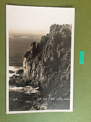 The Cliffs Lands End Cornwall Real Photograph Postcard