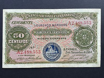 Mozambique 50 Centavos P61 Dated 5th November 1914 aVF