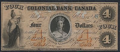1859 $4 Colonial Bank of Canada Serial # 1215 Orange-Brown Tint, Hopkins-Bettes