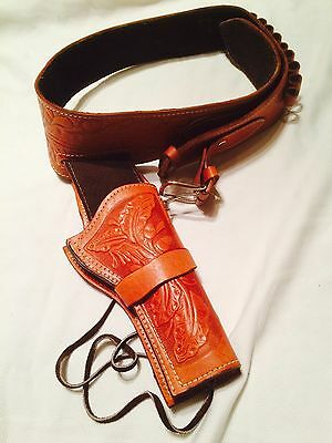 Old West-Style Deluxe Brown Leather Revolver Holster Medium (32-36)