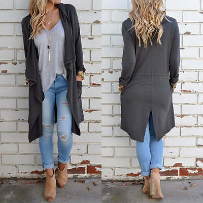 Women's Long Sleeve Knitted Cardigan Loose Sweater Outwear Jacket Coat Top
