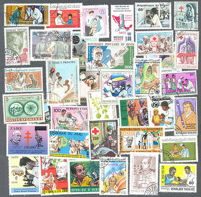Medicine + Medical  100 all different  stamp collection