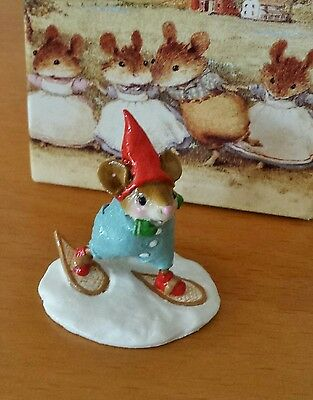 "Wee Forest Folk M-402  ""Mouse Tracks"" blue w/red cap Mint"