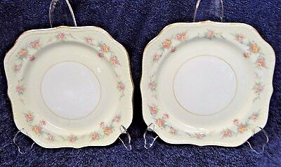 "Homer Laughlin Eggshell Georgian Countess Square Salad Plates 8"" TWO EXCELLENT!"
