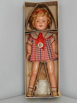 """Antique/vintage composition 20"""" Shirley Temple w/box tagged Bright Eye's dress"""