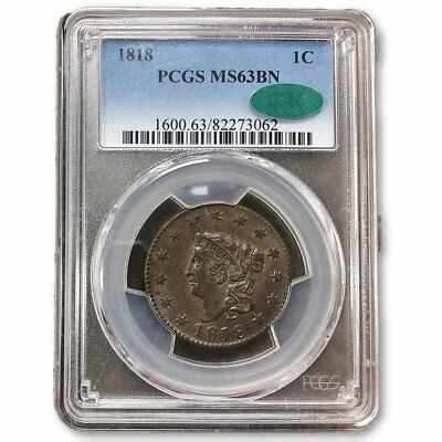 1818 Coronet Head Cent PCGS & CAC MS63BN ***Rev Tye's Coin Stache*** #3062701