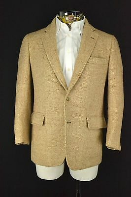 "Herringbone HARRIS TWEED Blazer JACKET 42"" Short Tan Light Brown Beige"
