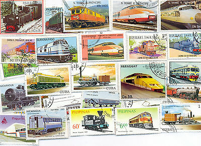 Trains/railways collection of 200 worldwide all different(off paper)