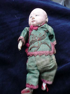 Antique  Miniature Chinese Male  Doll in Original Clothes Timeworn