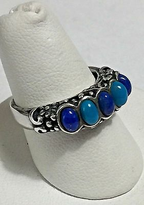 Carolyn Pollack Relios Sterling Silver 925 Turquoise & Lapis Flower Ring Sz 7