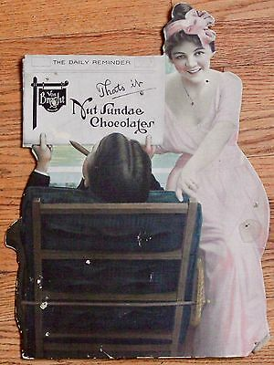 1910's Von Brecht Denver Nut Sundae Chocolates Hardboard Advertising Sign