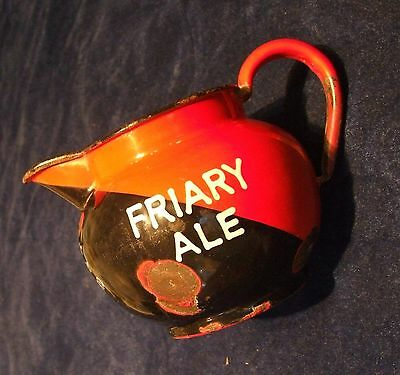 Early Steel Enamel FRIARY BREWERY GUILDFORD Advertising Pub Water Jug - Whisky