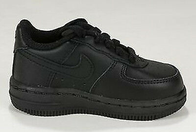 ce6a7dbfa52 NIKE AIR FORCE 1 Low Black Leather Baby Infant Td Sz 3-10   314194 ...