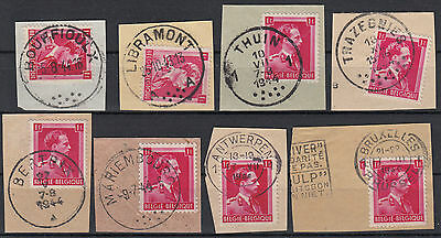 Belgium ☀ King Leopold III - collection of old postmark 8 cancels towns see SCAN