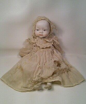 """Vtg Japan 20-40's Bisque Doll Cloth Body Haunted Look Worn Dress 9.5"""" tall"""