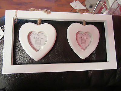 Shabby Chic Heart Wooden Photo Frame White Hearts - NEW!