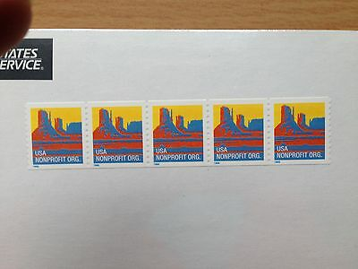 USA 1995 Non Profit Organisation (5c) Butte #2902 Coil strip of 5 from 3,000