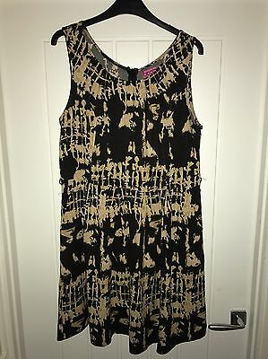 Lovely Black And Brown Patterned Dress By Boohoo ~ Size 14
