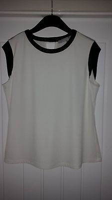 Lovely Cream And Black Top Edged In Faux Leather ~ Size 12 / 14