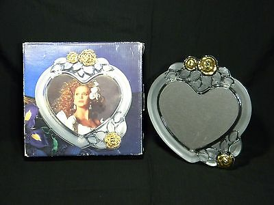 MIKASA Gilded Rose Single Heart Glass Photo Picture Frame Germany
