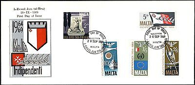 (Ref-9079) Malta 1969 Indpendence - Fifth Anniversary SG.422/426 First Day Cover