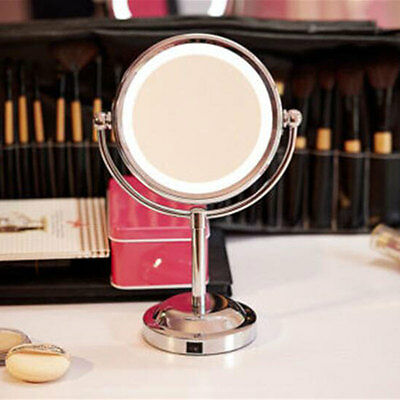 LED Lighted Double-Sided 1X/3X Magnifying Beauty Cosmetic Makeup Round Mirror