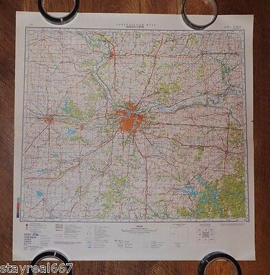 Authentic Soviet Army Military Topographic Map Kansas City, Topeka, Missouri USA