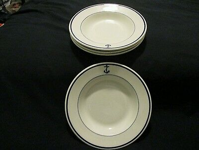 WW II Vintage Syracuse China OP Co. Fouled Anchor Soup Bowls, Set of 4, 1942