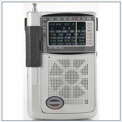 Mini Radio Multibanda Portatil AM, FM, TV, SW - 8 Bandas